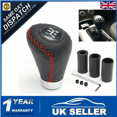 Universal 5 Speed Leather Red Manual MT Car Gear  Lever Stick Shift Knob Shifter