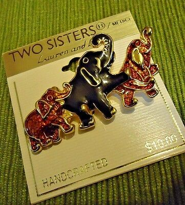 Vintage TWO SISTERS DESIGNERS (3) ELEPHANT FAMILY MULTI-COLORED BROOCH -NEW