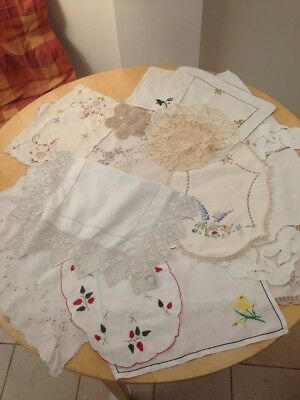 Assorted Vintage Table Linen Doilies Tray Linen