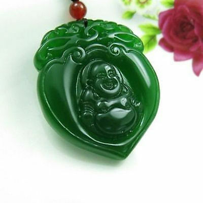 Exquisite natural China green jade hand carved pendant Necklaces Buddha
