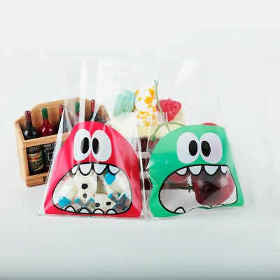 100 PCS OPP Cute Monster Self-Adhesive Bags Cookie Candy Plastic Packaging Bags