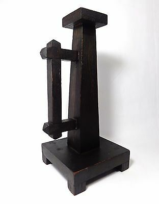 Antique Arts & Crafts Hand-Crafted, Dark-Stained Oak Candle Holder W/handle