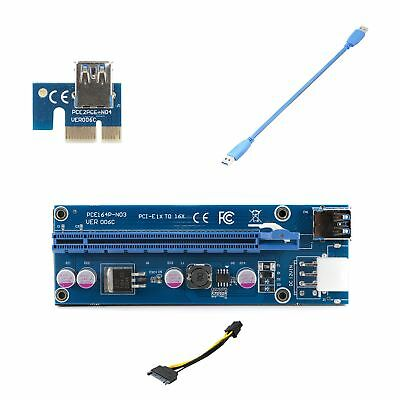PCI-E 1x to 16x Powered Riser Adapter Card USB 3.0 6pin to SATA Cable