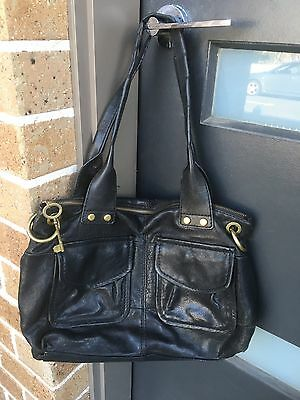 Black Colour FOSSIL Leather Handbag Without the Long Strap - In Good Condition