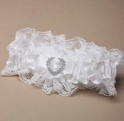 Off White Crystal Heart Bead Garter, Wedding Accessories