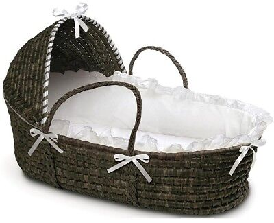 Espresso Hooded Moses Basket In White