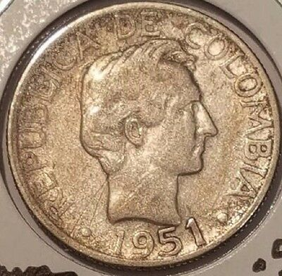 Colombia 1951B Silver 20Centavos Km208.2 Ungraded Business Uncertified Free Ship