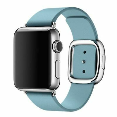 Apple Watch Genuine Leather 42mm Light Blue Modern Buckle Compatible Replacement