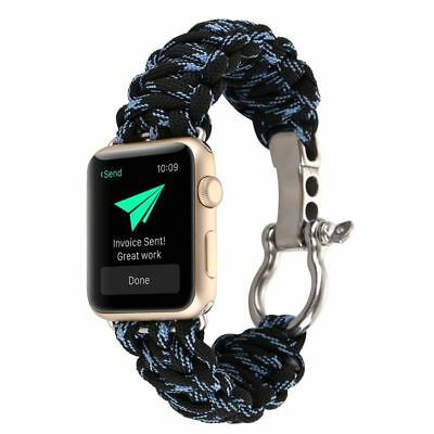 Apple Watch 38mm Black Blue Parachute Cord Compatible Replacement