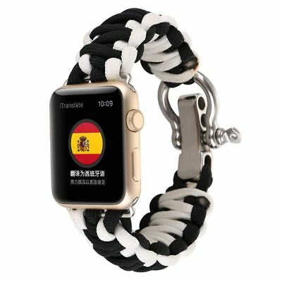 Apple Watch 38mm Black White Parachute Cord Compatible Replacement
