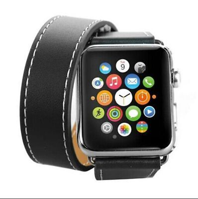 Apple Watch 38mm Leather Double Black Compatible Replacement