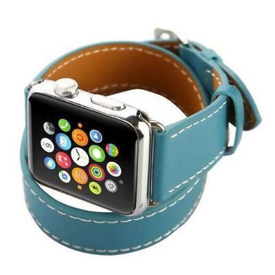 Apple Watch 38mm Leather Double Blue Compatible Replacement