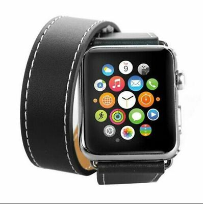 Apple Watch 42mm Leather Double Black Compatible Replacement