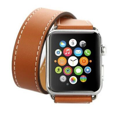 Apple Watch 42mm Leather Double Brown Compatible Replacement