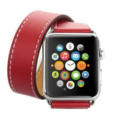 Apple Watch 42mm Leather Double Red Compatible Replacement