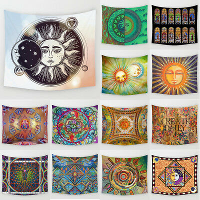 Sun&Moon Face Art Print Wall Hanging Tapestry  Hippie Throw Bedspread Dorm Decor