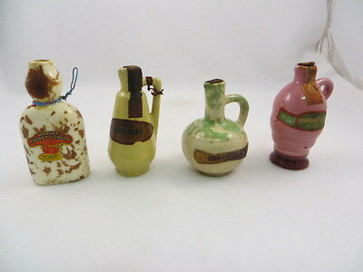 """4 Different Mohawk Miniature Whiskey Decanter 3 3/4"""" Tall  Empty"""