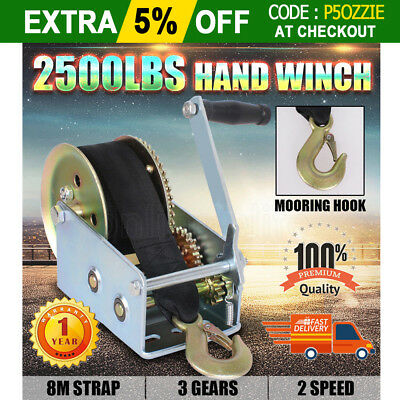 OZ Hand Manual Winch Puller 2500LBS 2-Speed 8M Strap Handle Car Boat Trailer 4WD