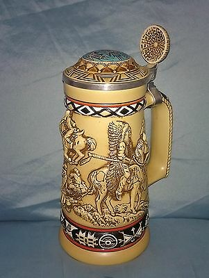 Vintage Avon Indians of the American Frontier Stein Mug Cup Native American 1988