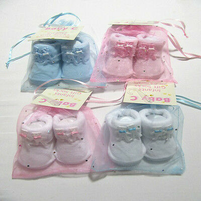 Baby Babies Unisex Booties Socks Slipper Set Newborn  Gift Pink White Blue Sock