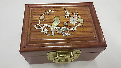 Small Rosewood Huali Jewllery Box Natural Colour with Mother in Pearl Inlay