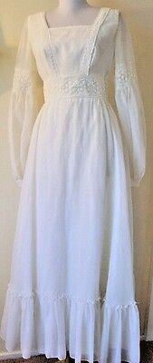 Vintage  Peasant Lace BoHo Hippy Made USA Small Bridal Gown Cotton Blend Hippie