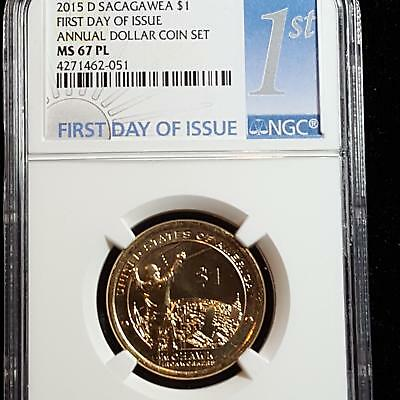 2015 D Sacagawea Dollar 1st Day of Issue MS 67 PL NGC