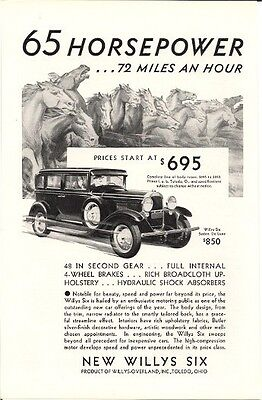 New Willys Six 65 Horsepower 72 Miles an Hour Vintage Ad 1930