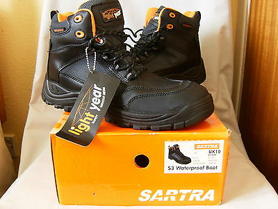 SARTRA S3 Waterproof Boots (LIGHT YEAR UK) - Safety without Metal Size 10 NEW