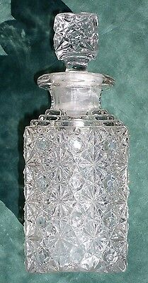 Antique Square Daisy and Button Glass Decanter Pairpoint?