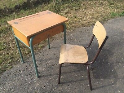 Industrial Vintage Antique French Childs School Desk with chair