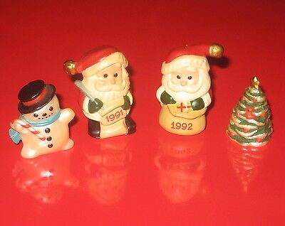 Hallmark Merry Miniatures 1991 & 1992 Jingle Bell Santa 1994 Tree & Snowman