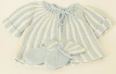 Vintage Handknit Baby Sweater & Mittens Blue & White Stripes