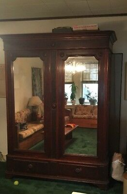 HUGE Antique MAHOGANY Armoire Wardrobe Bevelled Mirrors VICTORIAN Magnificent