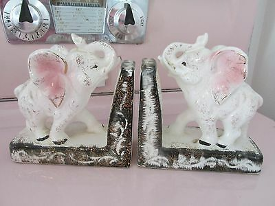 1960 Pink White Black with Gold Accent Elephant Bookends Retro Mid Century Decor