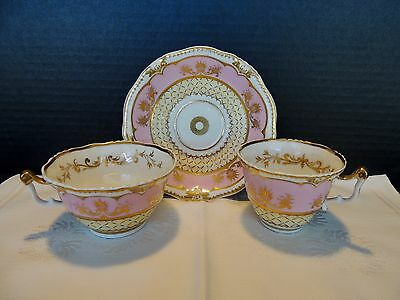 English Porcelain Saucer, Coffee, Tea Cup Trio Pink w Painted Gold 1800s England