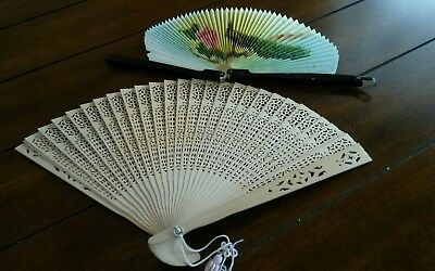 Estate Find Lot of 2 Vintage Hand Held Fans