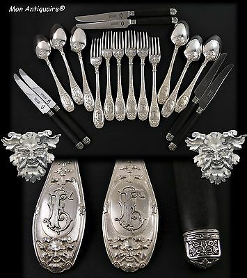 Antique French Sterling Silver Dinner Table Flatware Set Mascaron Satyr's Masks