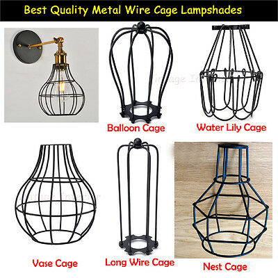 Iron Vintage Ceiling Light Fitting Edison Lamp Bulb Cage Bar Cafe Lampshade UK