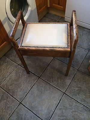 Vintage  Storage Box Piano Stool Dressing Table Stool Upholstered Lid VGC