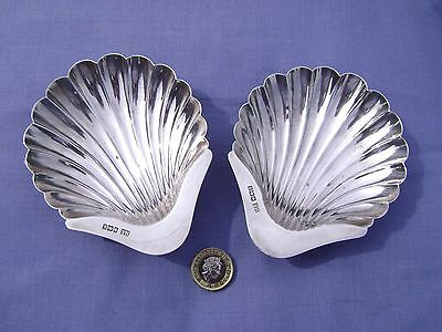 ANTIQUE SOLID SILVER SHELL SHAPED BUTTER DISHES, Sheffield 1902 by Henry Atkin