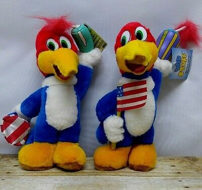 2- Woody Woodpecker Plush Tags Attached Dynomite Toys Cartoons Birds 4th of July