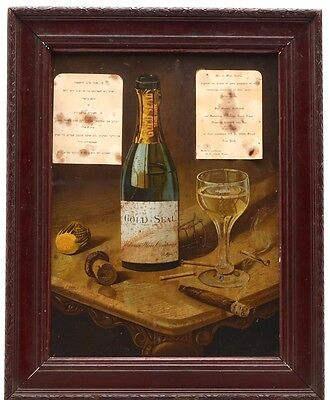 Antique Framed Sign Tin Urbana Wine Co Gold Seal Champagne Pre-Prohibition