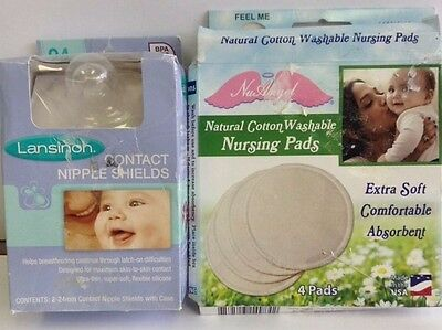 NuAngel 4 Pc Cotton Washable Pads,Natural & Lansinoh Contact Nipple Shields,2 Co
