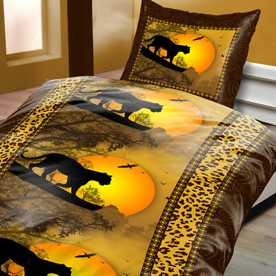 mikrofaser bettw sche 135x200 cm 2 teilig afrika leopard schwarz eur 9 99 picclick de. Black Bedroom Furniture Sets. Home Design Ideas