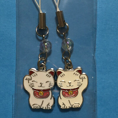 F/S Pair Key Chain Strap Cute Kawaii Maneki Neko Lucky Money Fortune Cat