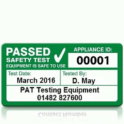 Personalised 'PASS' PAT Test Labels - LARGE (500)