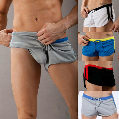Mens Low-rise Shorts Sports Gym Shorts Comfortable Pants G-cup Exposure Avoid
