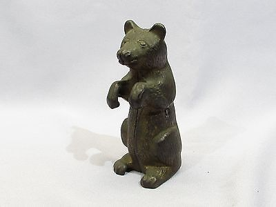 Vintage cast iron golden bear bank