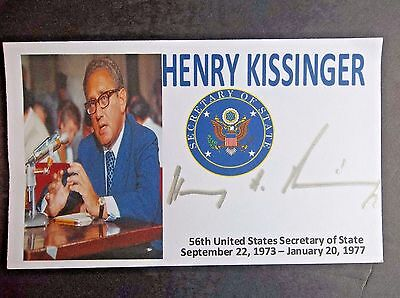 Henry Kissinger Secretary Of State (Richard M. Nixon) Autographed 3x5 Index Card